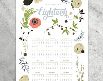 2018 Wall Calendar, 11x17 Year-at-a-Glance Calendar, wildflowers, flowers, floral garland and laurels