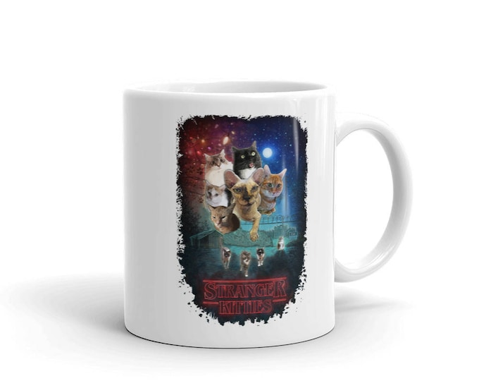 Stranger Kitties Mug // Stranger Things Cat Parody Coffee Cup //