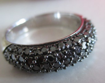 VINTAGE Marcasite JS 925 Sterling Silver Ring, SIZE 7, Gift for Her, Birthday, Anniversary, Sterling Silver Four Row Marcasite Holiday Ring