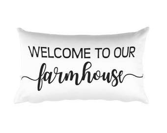 Welcome to our Farmhouse 20x12 Rectangular Pillow - home decor -  throw pillow