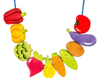 Montessori Handcrafted Vegetable-shaped Lacing Beads with Cotton Sack
