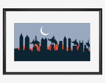 Atlanta Skyline print, Atlanta print, Atlanta art, Atlanta poster, Dali Elephants inspired print, Salvador Dali inspired art, poster