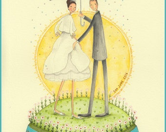 Custom Illustration 8x10 Original Hand Painted Watercolour Portrait 2 Figures Special Gift Birthday Anniversary Wedding *Delivery JULY 2018*