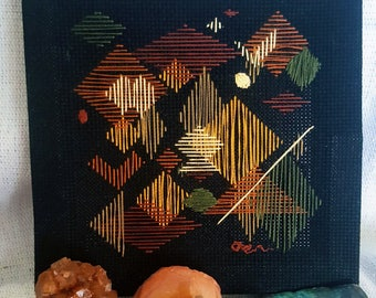 Unique Thread Art Home Decor, Embroidery, earth tones, autumn colors, needlepoint freehand, Fall, Cross stitch decor, minimalist modernist