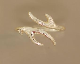 Antler By Pass,twig ring, sterling twig ring, antler ring, branch ring,