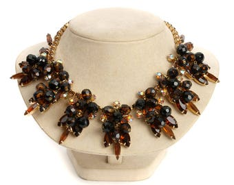 vintage Juliana necklace • warm toned rhinestones & tigers eye glass dangling beads
