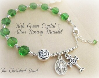 Light Emerald Coin Crystal & Silver Catholic Irish Rosary Bracelet