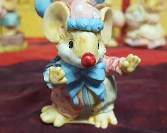 "Little Cheesers collection by GANZ, ""Chuckles the Clown"" #05243, Vintage 1992, Hand Painted Resin Figurine"