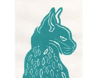 linocut cat print on Shiramine rice paper, 5 x 7, Cat Wings IV