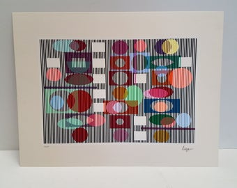 Vintage Yaacov Agam Hand signed and numbered  Seriagraph, Limited edition