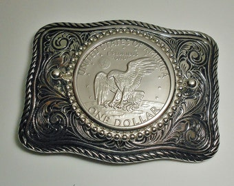 United States Vintage Eisenhower Dollar 1974  belt buckle 50th birthday