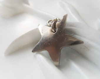 Silver Star Charm Hammered Nickel Star Pendant Celestial Item No. 9531SO
