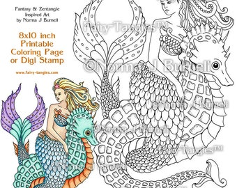 Mermaid and Seahorse Fairy Tangles Printable Coloring book Sheets & Pages by Norma Burnell for Adult Coloring and Digital Coloring Mermaids