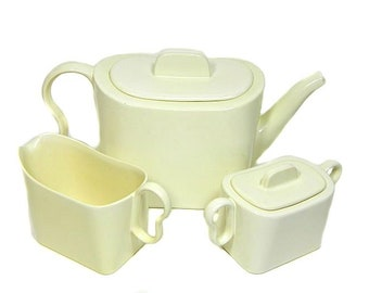 Franciscan Ware Metropolitan Teapot Creamer Sugar Bowl Matte Ivory