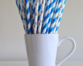 Blue and Gray Paper Straws Blue Striped Grey Polka Dot Party Supplies Party Decor Bar Cart Cake Pop Sticks Mason Jar Straws Graduation