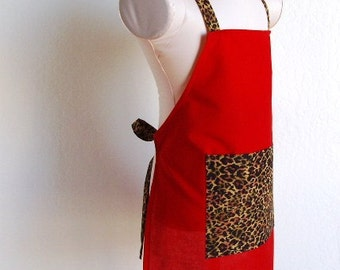 Childrens Apron - Cheetah Print on Solid Red Apron, a fun apron to cook or create arts and crafts in, keep clean wearing this kids apron