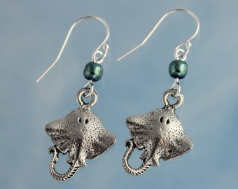 Sting Ray Earrings - pewter manta ray charms, iridescent teal green hemalike beads, sterling silver hooks - ocean, beach -Free Shipping USA