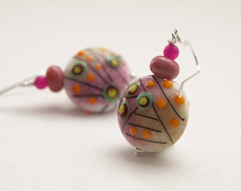 Pink Earrings, Abstract Earrings, Mismatched Earrings, Lampwork Glass Earrings, Beaded Earrings