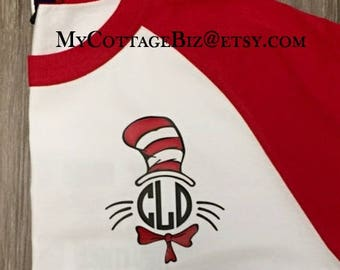 Dr. Seuss Hat Monogram Raglan, Read Across America
