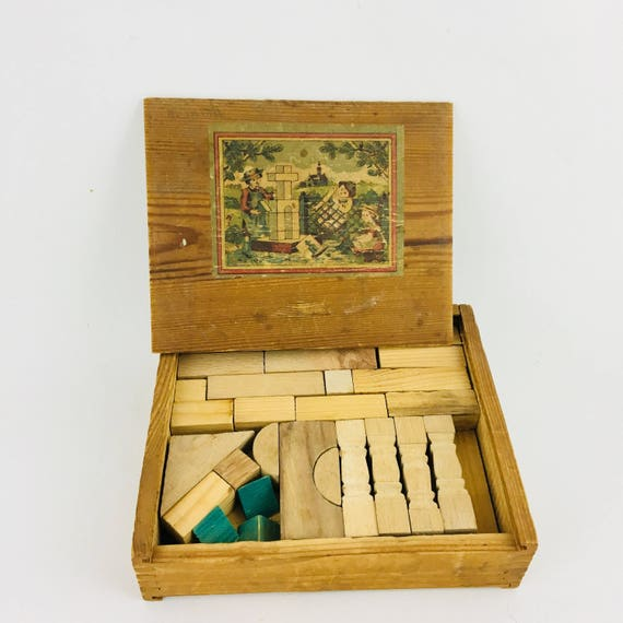 Vintage Wooden Block Set in Box