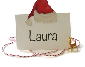 Christmas Place Cards, Santa Hat Name Cards, Table Place Cards, Christmas Table Decor, Buffet Cards, Eco-friendly, Tent Style, Personalized