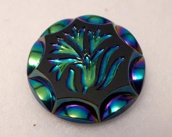 Czech glass button -  black + Ab finish - 27mm