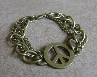 Golden Bronzed Peace Symbol Three Chain Linked Bracelet