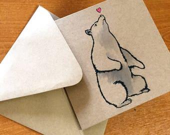 Bear & Heart Hand Painted Card