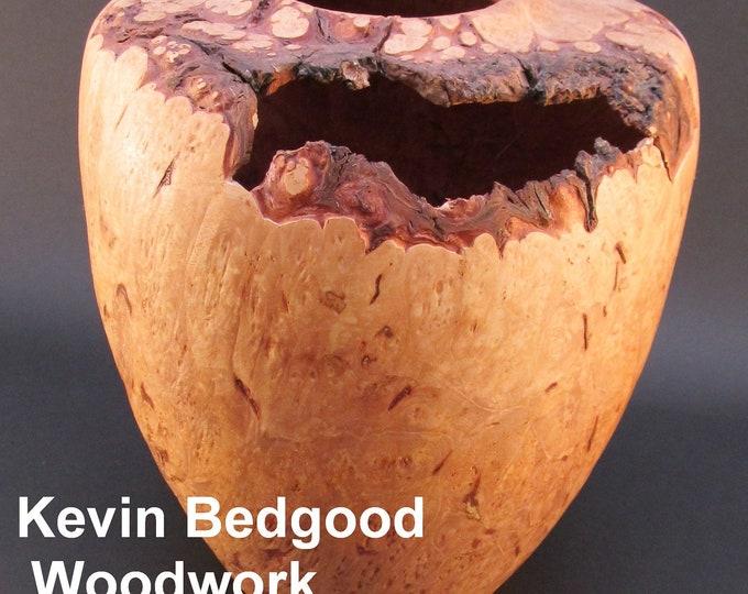 Featured listing image: Vase bowl Maple burl, natural edge, turned bowl