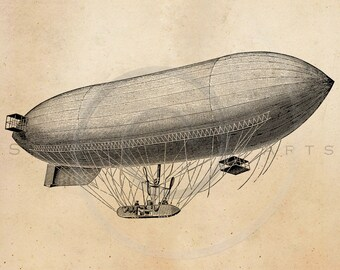Vintage Blimp Aircraft Illustration Printable 1800s Blimps Antique Print Steampunk Instant Download Clip Art Retro Black & White Drawing ZS