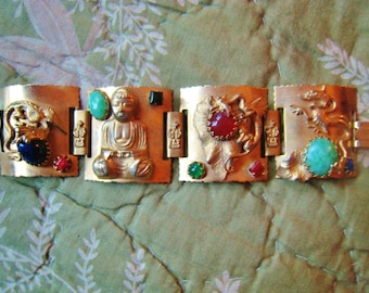 Outstanding Vintage Raised Dragon Buddha (with Peking glass and more) Bracelet