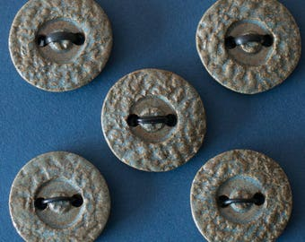 Ceramic Buttons, A Set of 5 Round Buttons, Sew on Buttons, Handmade Stoneware Buttons, Frost Blue Supplies.