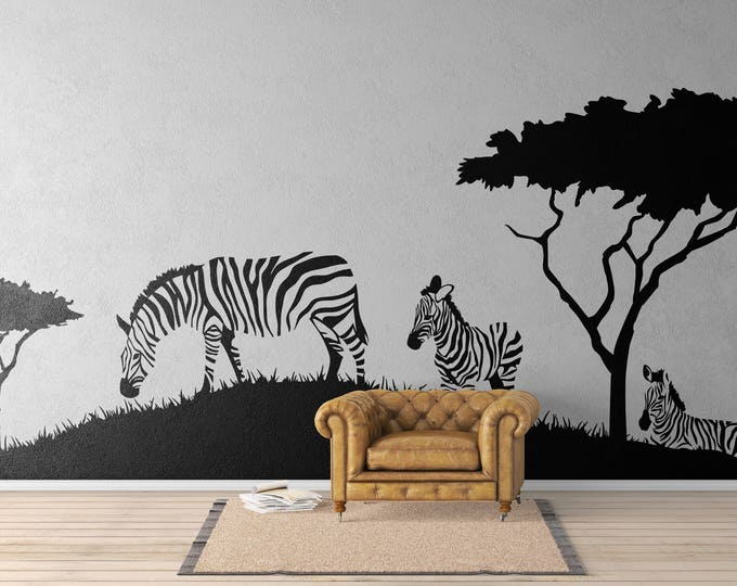 Featured listing image: Zebras on a African Landscape - African Animals Wall Decal / Stickers, Africa Savanna Landscape Serenity Peaceful Relaxing Equids
