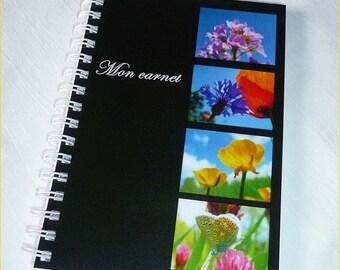 """Carnet de notes artisanal 10x14cm couverture avec des photos de fleurs""""Mon carnet"""""""