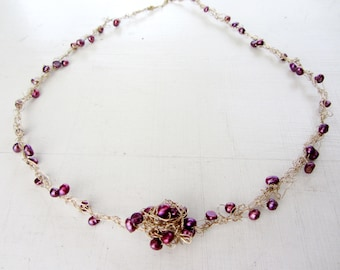 Crochet gold filled necklace - Purple magic