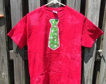 Mens Necktie Shirt, Adult Tie Shirt, Batik Tie Shirt, Funny Mens Shirt, Mens Shirt with Tie (M)