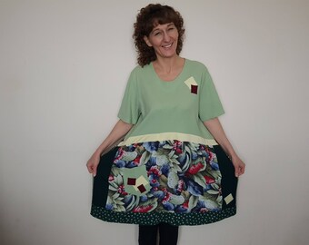Plus size clothing Plus size bohemian clothing Recycled clothes Plus size tunic dress Upcycled dress plus size Hippie clothes Boho clothing