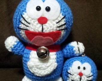 PATTERN: Crochet Doraemon Doll & Keychain