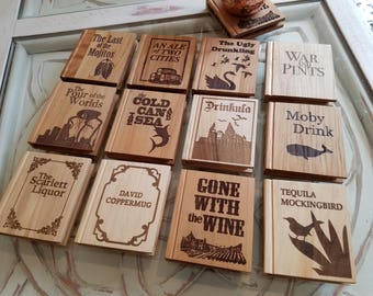 Solid Wood Book Shape Coasters NEW TITLES AVAILABLE - you pick from 14 punny options - Drinking puns, Coaster set, gifts for book lovers