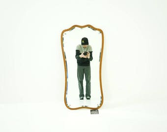 308-169.26 Danish Mid Century Modern Teak Beveled Wall Mirror