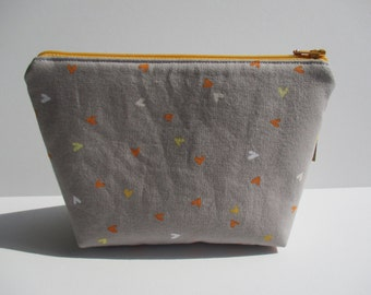 Orange and White Hearts on Grey Makeup Cosmetic Bag Zipper Pouch