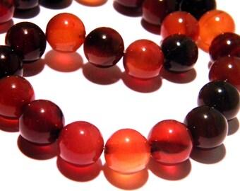 5 beads agate gemstones 10 mm - shades amber black gems PG193 semi-precious stones