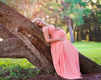 EMBRACE Convertible Maternity, Baby Shower, Bridesmaids, Photo Prop Dress / Grown , Peach