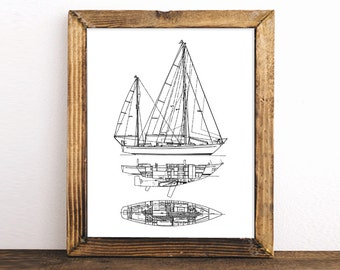 Sailboat picture etsy sailboat blueprint nautical decor printable art blueprint art instant download sailboat malvernweather Gallery