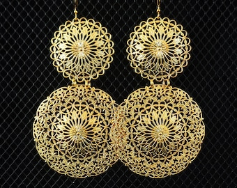 Statement filigree earrings, oversized lightweight gold tone shoulder dusters