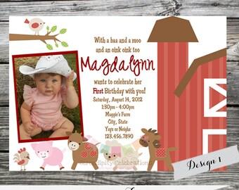 Barnyard Invite, Farm Invitation, Printed Invitation, Farm Birthday Invitation, Farm Animals, Barnyard Birthday Party, Birthday Invite