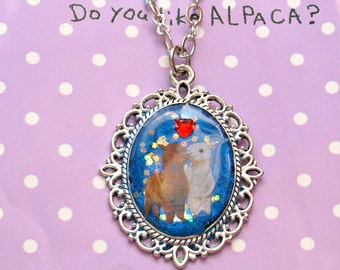 Alpaca, kawaii, lolita jewelry, Harajuku, novelty, charm pendant, resin necklace, glitter, handmade jewelry, blue, lama, cameo pendant,