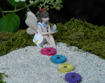 Fairy Nicole, fairy garden miniatures, garden fairy with fairy in hand, flower stepping stones set of 4 rainbow colors, accessories