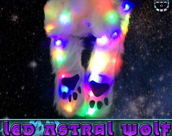 LED White Wolf Animal Hood (LED Astral Wolf Hood)
