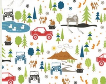 J is for Jeep White Main Print by Riley Blake Fabrics